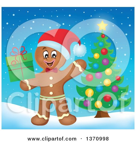 Clipart of a Happy Gingerbread Man Cookie Waving and Holding a Christmas Gift by a Tree - Royalty Free Vector Illustration by visekart