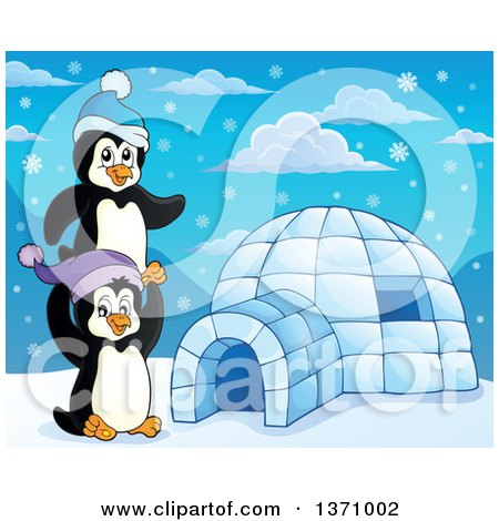 Clipart of Cute Penguins Playing Around an Igloo - Royalty Free Vector Illustration by visekart