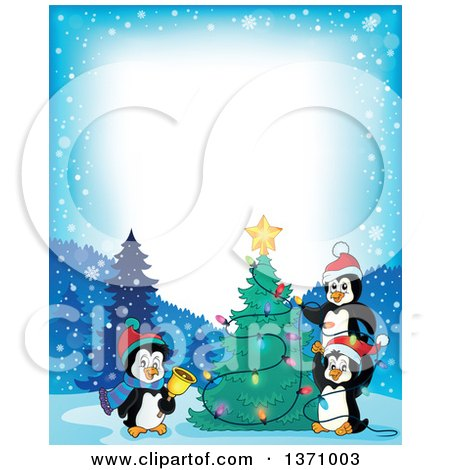Clipart of Border of Cute Penguins Putting Lights on a Christmas Tree on a Winter Night - Royalty Free Vector Illustration by visekart
