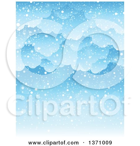 Clipart of a Winter Background of Snow Falling from Clouds over Blue Sky - Royalty Free Vector Illustration by visekart