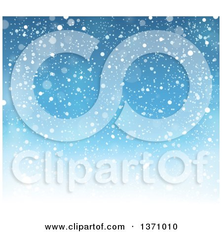 Clipart of a Christmas Background of Snow Falling over Blue Sky - Royalty Free Vector Illustration by visekart