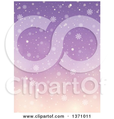 Clipart of a Winter Background of Snow Falling over a Gradient Purple Sky - Royalty Free Vector Illustration by visekart
