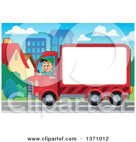 Clipart of a Cartoon Happy White Man Driving a Delivery Truck with Advertising Space in a Town - Royalty Free Vector Illustration by visekart