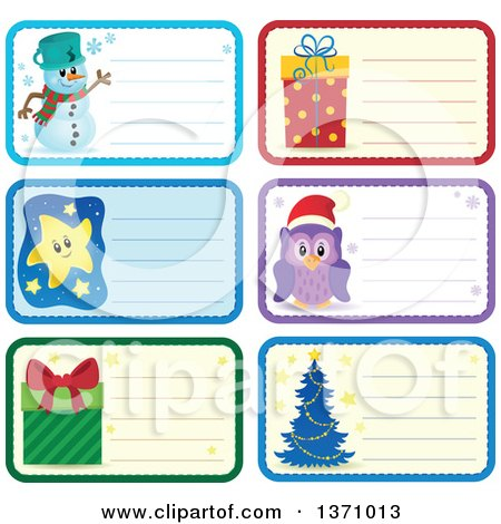 Clipart of Christmas Gift or Name Tag Labels of a Snowman, Gifts, Owl, Tree and Stars - Royalty Free Vector Illustration by visekart