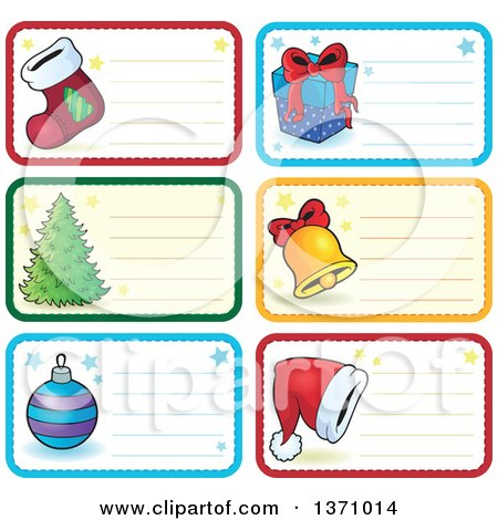 Clipart of Christmas Gift or Name Tag Labels of a Stocking, Gift, Tree, Bell, Santa Hat and Bauble - Royalty Free Vector Illustration by visekart