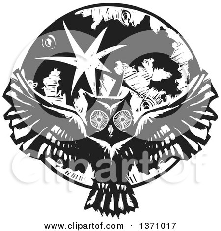 Clipart of a Black and White Woodcut Flying Owl over a Full Moon - Royalty Free Vector Illustration by xunantunich