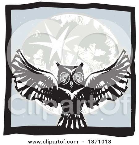 Clipart of a Black and White Woodcut Flying Owl over a Full Moon in a Gray Square - Royalty Free Vector Illustration by xunantunich