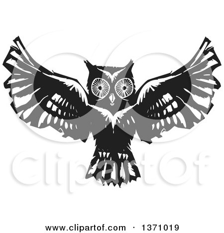 Clipart of a Black and White Woodcut Flying Owl - Royalty Free Vector Illustration by xunantunich