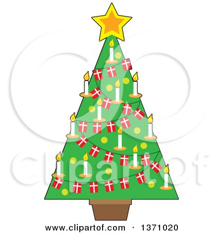 Clipart of a Christmas Tree Decorated with a Star, Candles and Danish Flag Garlands - Royalty Free Vector Illustration by Maria Bell