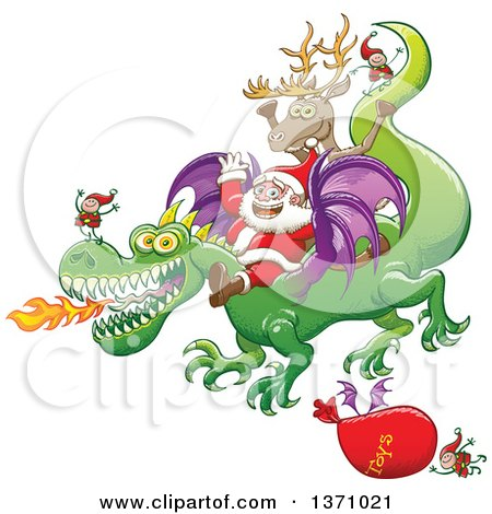 Clipart of a Christmas Scene of Santa and Crew Riding a Dragon, a Sack of Toys Flying - Royalty Free Vector Illustration by Zooco