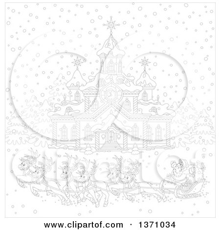 reindeer pulling sleigh coloring pages - photo#29