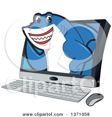 Clipart of a Shark School Mascot Character Emerging from a Desktop Computer Screen - Royalty Free Vector Illustration by Toons4Biz
