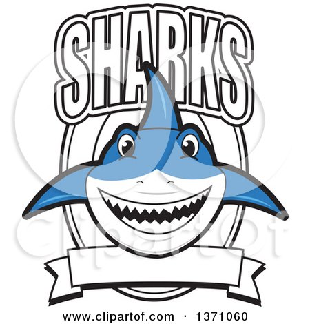 Clipart of a Shark School Mascot Character with Text over a Blank Banner and Shield - Royalty Free Vector Illustration by Toons4Biz