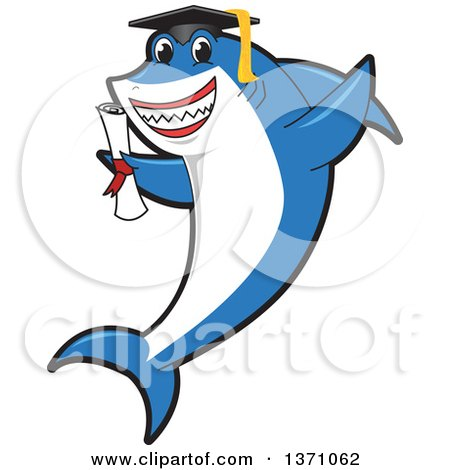 Clipart of a Shark School Mascot Character Graduate Holding a Diploma - Royalty Free Vector Illustration by Toons4Biz