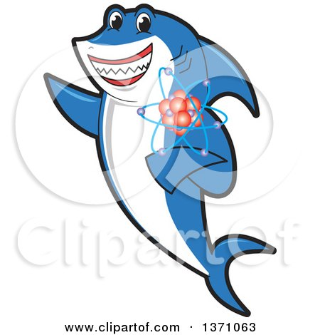 Clipart of a Shark School Mascot Character Holding an Atom - Royalty Free Vector Illustration by Toons4Biz
