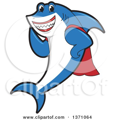 Clipart of a Shark School Mascot Character in a Super Hero Cape - Royalty Free Vector Illustration by Toons4Biz