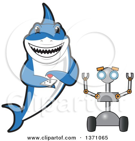 Clipart of a Shark School Mascot Character Controlling a Robot - Royalty Free Vector Illustration by Toons4Biz
