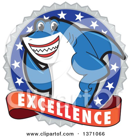 Clipart of a Shark School Mascot Character on an Excellence Badge - Royalty Free Vector Illustration by Toons4Biz