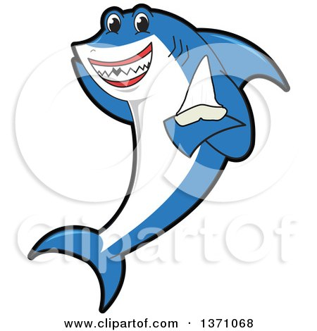 Clipart of a Shark School Mascot Character Holding a Tooth - Royalty Free Vector Illustration by Toons4Biz
