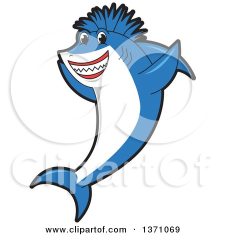 Clipart of a Cheering Shark School Mascot Character with a Mohawk - Royalty Free Vector Illustration by Toons4Biz