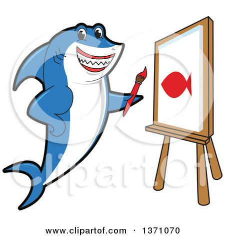Clipart of a Shark School Mascot Character Painting a Fish on Canvas - Royalty Free Vector Illustration by Toons4Biz