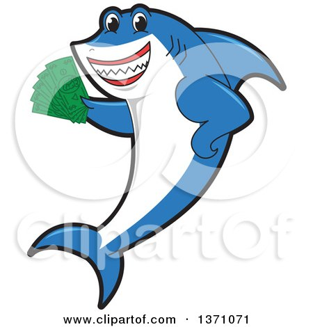 Clipart of a Shark School Mascot Character Holding Cash Money - Royalty Free Vector Illustration by Toons4Biz