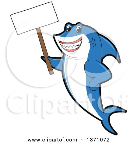 Clipart of a Shark School Mascot Character Holding a Blank Sign - Royalty Free Vector Illustration by Toons4Biz