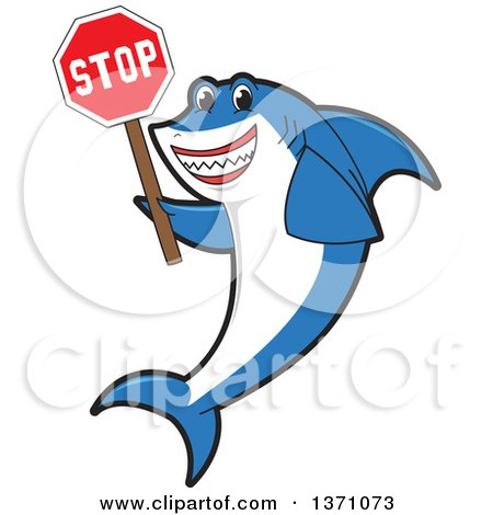 Clipart of a Shark School Mascot Character Holding a Stop Sign - Royalty Free Vector Illustration by Toons4Biz
