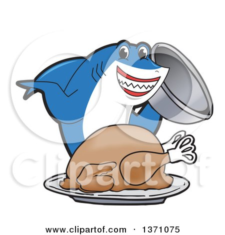 Clipart of a Shark School Mascot Character Serving a Roasted Thanksgiving Turkey - Royalty Free Vector Illustration by Toons4Biz