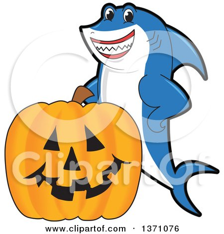 Clipart of a Shark School Mascot Character with a Jackolantern Pumpkin - Royalty Free Vector Illustration by Toons4Biz