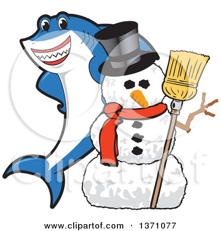 Clipart of a Shark School Mascot Character with a Christmas Snowman - Royalty Free Vector Illustration by Toons4Biz