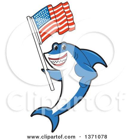 Clipart of a Shark School Mascot Character Holding an American Flag - Royalty Free Vector Illustration by Toons4Biz