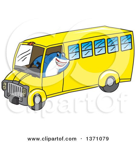 Clipart of a Shark School Mascot Character Driving a School Bus - Royalty Free Vector Illustration by Toons4Biz