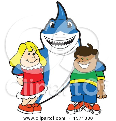 Clipart of a Shark School Mascot Character Posing with Students - Royalty Free Vector Illustration by Toons4Biz