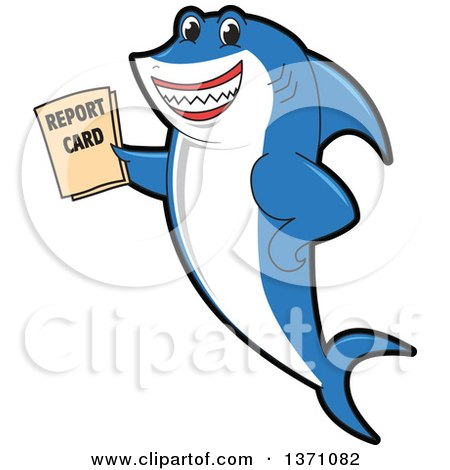 Clipart of a Shark School Mascot Character Holding a Report Card - Royalty Free Vector Illustration by Toons4Biz