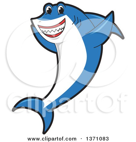 Clipart of a Shark School Mascot Character Cheering - Royalty Free Vector Illustration by Toons4Biz