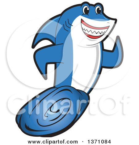 Clipart of a Shark School Mascot Character Running - Royalty Free Vector Illustration by Toons4Biz