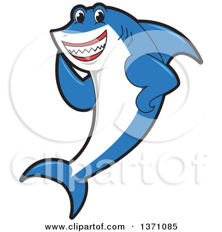 Clipart of a Shark School Mascot Character Waving - Royalty Free Vector Illustration by Toons4Biz