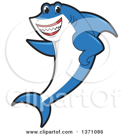 Clipart of a Shark School Mascot Character Pointing - Royalty Free Vector Illustration by Toons4Biz