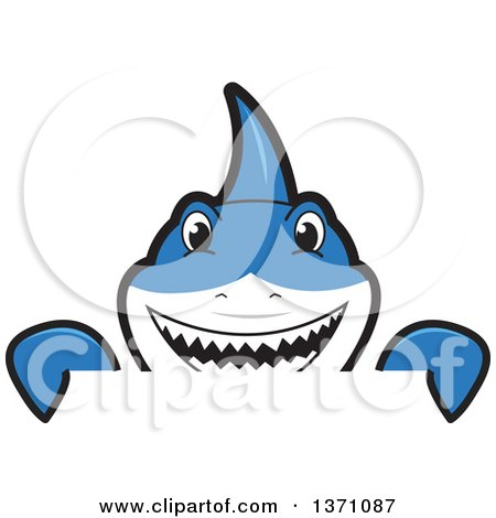 Clipart of a Shark School Mascot Character Looking over a Sign - Royalty Free Vector Illustration by Toons4Biz
