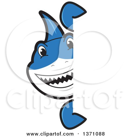 Clipart of a Shark School Mascot Character Looking Around a Sign - Royalty Free Vector Illustration by Toons4Biz