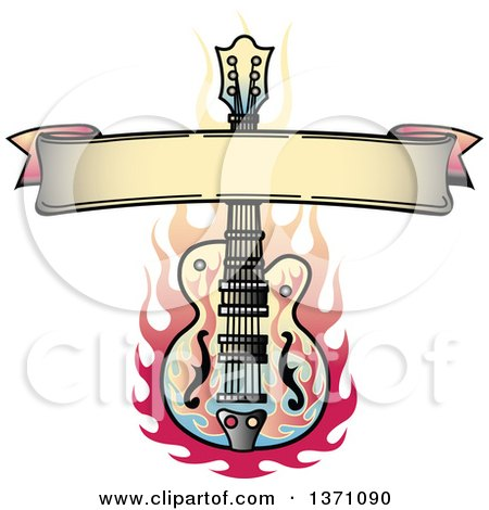 Clipart Of A Blank Ribbon Banner And Flaming Guitar Tattoo Design Royalty Free Vector Illustration
