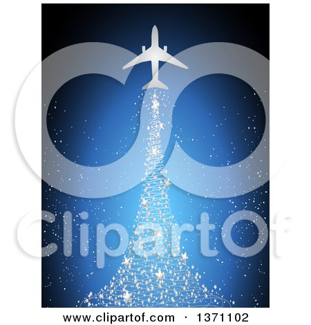Clipart of a Silhouetted Airplane with a Magical Silver Star Christmas Tree Trail over Blue - Royalty Free Vector Illustration by elaineitalia