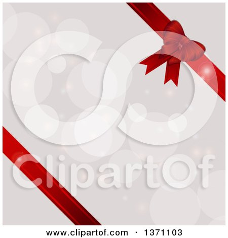 Clipart of a Background of 3d Red Ribbons and a Gift Bow over Flares - Royalty Free Vector Illustration by elaineitalia