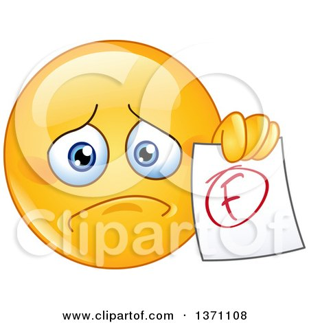 Clipart of a Sad Cartoon Yellow Smiley Face Emoticon Emoji Holding out a Failed Report Card - Royalty Free Vector Illustration by yayayoyo