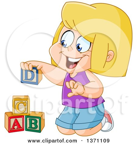 Clipart of a Cartoon Blond White Girl Playing with Alphabet Toy Blocks - Royalty Free Vector Illustration by yayayoyo