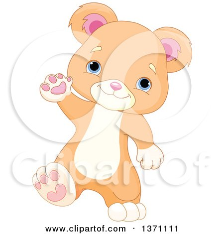 Clipart of a Cute Baby Bear Cub Walking Upright and Waving - Royalty Free Vector Illustration by Pushkin