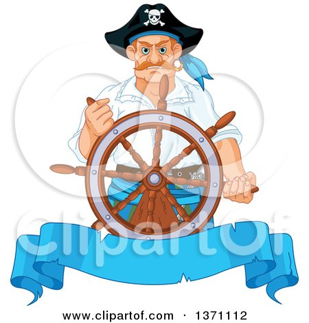 Clipart of a Tough Caucasian Male Pirate Captain Steering at the Helm, over a Blank Blue Ribbon Banner - Royalty Free Vector Illustration by Pushkin