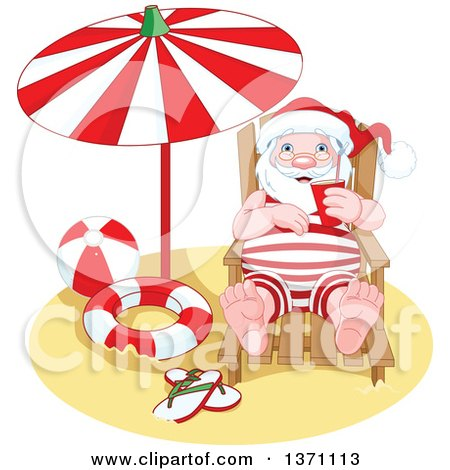 Clipart Of A Relaxed Happy Santa Claus Taking A Beach Vacation After Christmas Royalty Free Vector Illustration