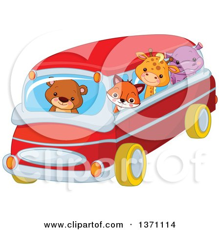 Clipart of a Cute Baby Bear Cub Driving a Fox, Giraffe and Hippo in a Bus - Royalty Free Vector Illustration by Pushkin